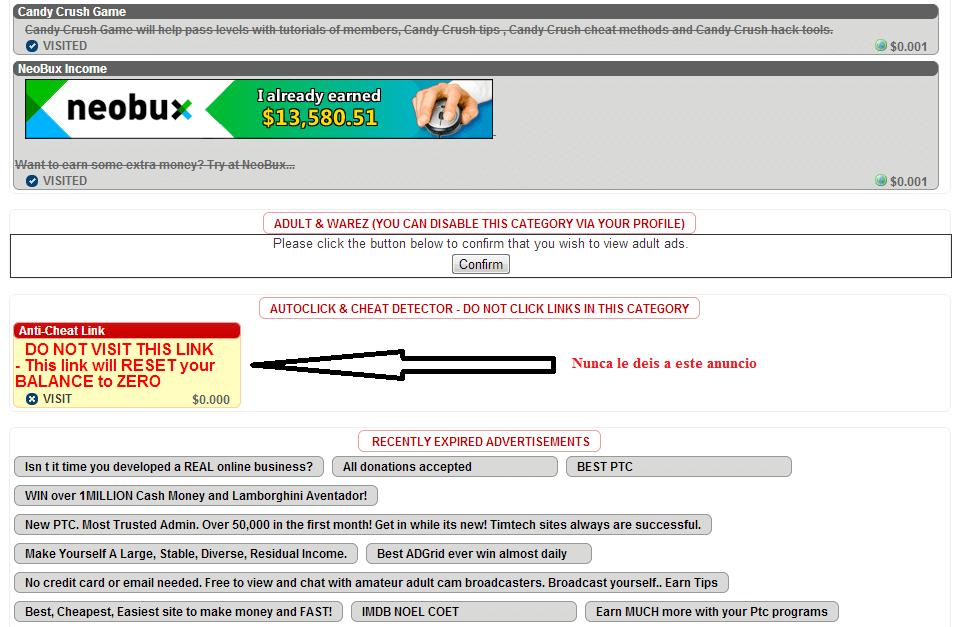 Anuncio trampa en BuxP