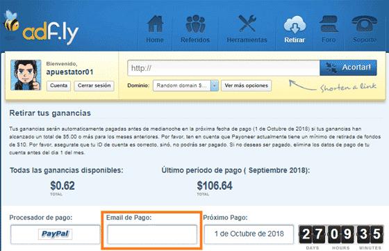 Cómo recibir los pagos en Adfly