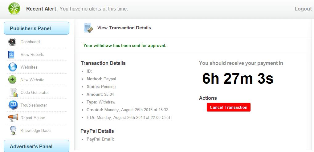 Primer pago Popads