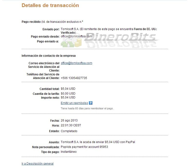 PopAds - Primer pago recibido