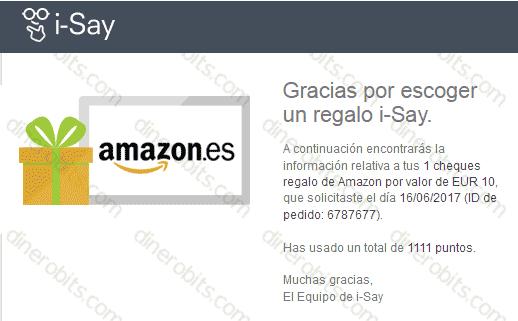 Vale para Amazon recibido de i-Say encuestas