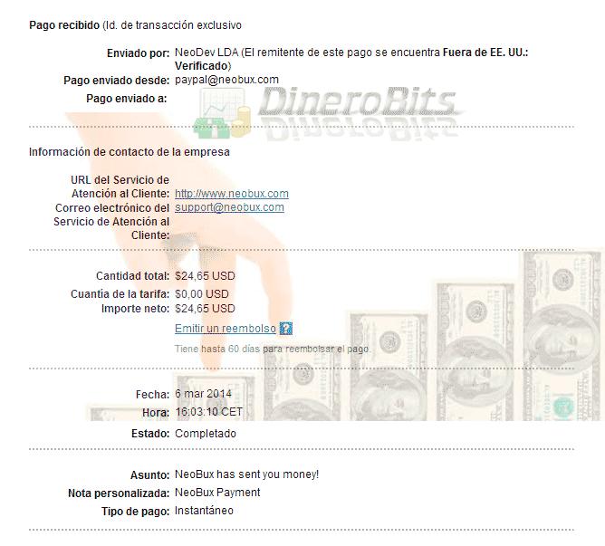 Segundo pago de Neobux
