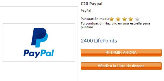Redimir premios por PayPal