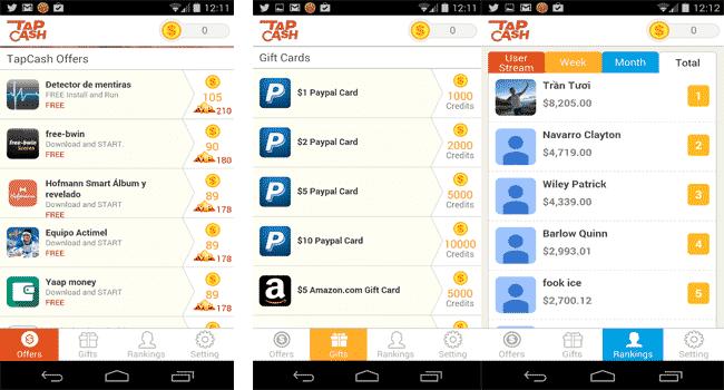 Menús de Tap Cash Rewards
