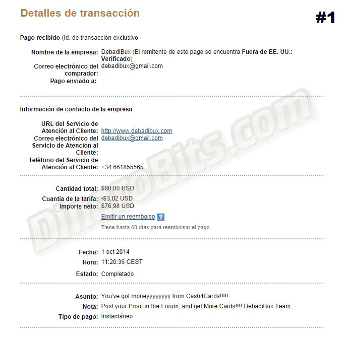 Primer pago de Cash4Cards