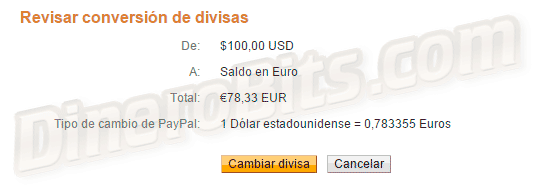 Como cambiar de dólares a euros en PayPal, paso final
