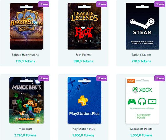 Diferentes premios en Gameloot
