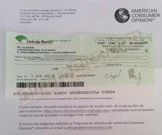 Primer pago de American Consumer Opinion