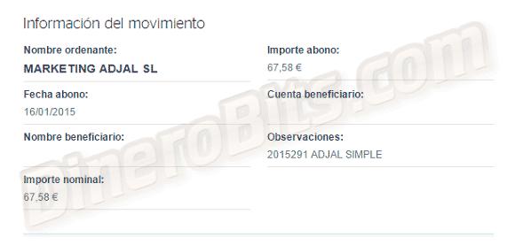 Primer pago de Adjal Simple de 67,58€