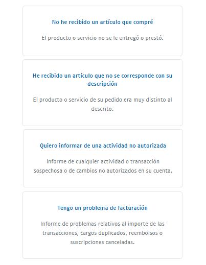 Tipo de reclamación en PayPal