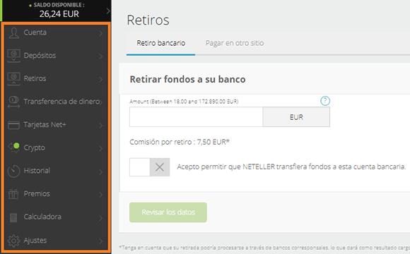 Interfaz de Neteller en español