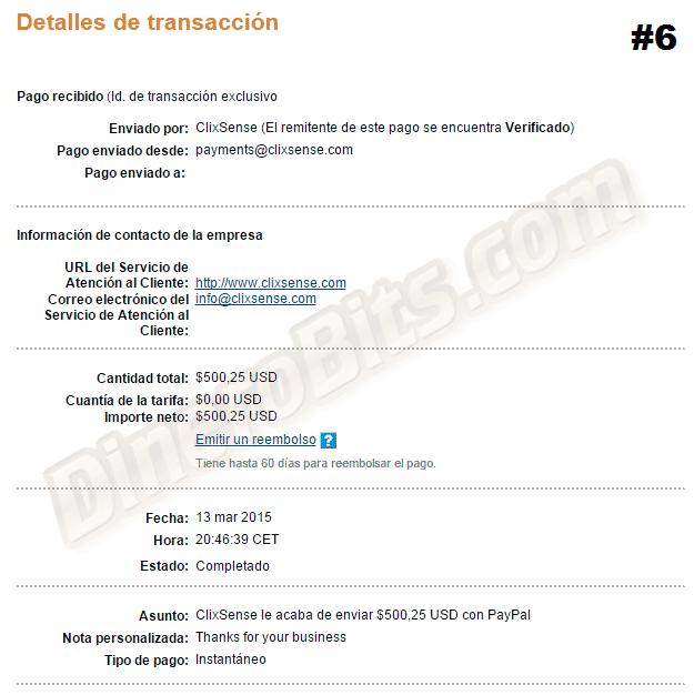 Sexto pago de ClixSense