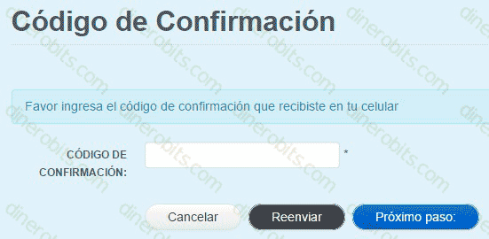 Código de confirmación en Paytoo