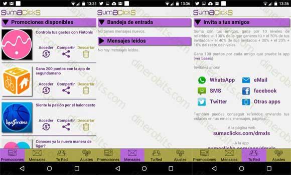 SumaClicks aplicación para móvil
