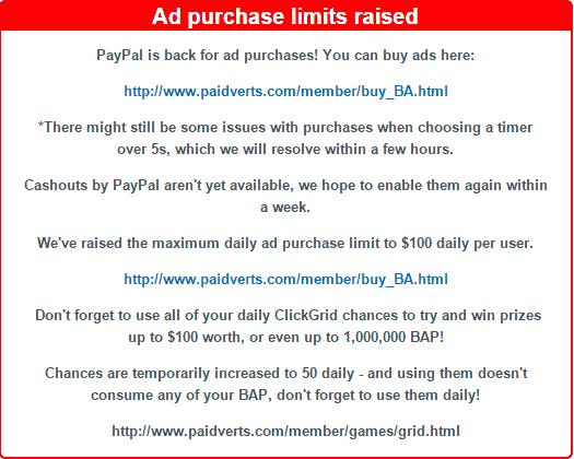 Paypal vuelve a PaidVerts y nuevos límites de compra