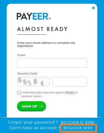 Abrir cuenta en Payeer
