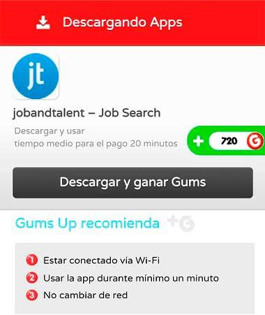 Descargar apps en GumsUp