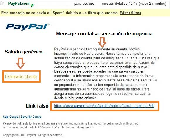 Ejemplo de correo falso y Phishing en PayPal