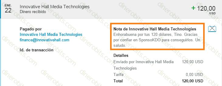 Segundo pago de SponsoKDO recibido por PayPal