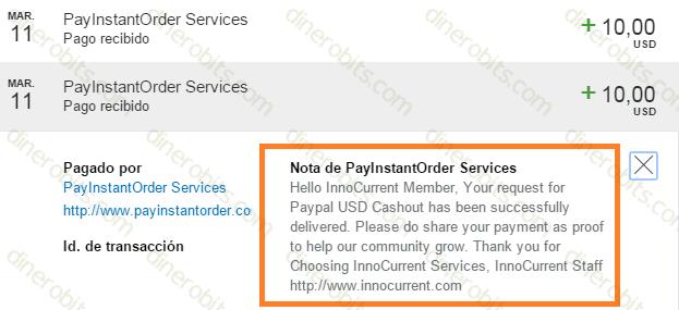 Pagos recibidos de InnoCurrent en Marzo 2016