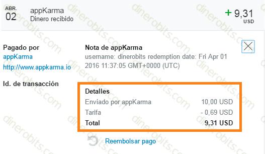 AppKarma paga rápido y puntual