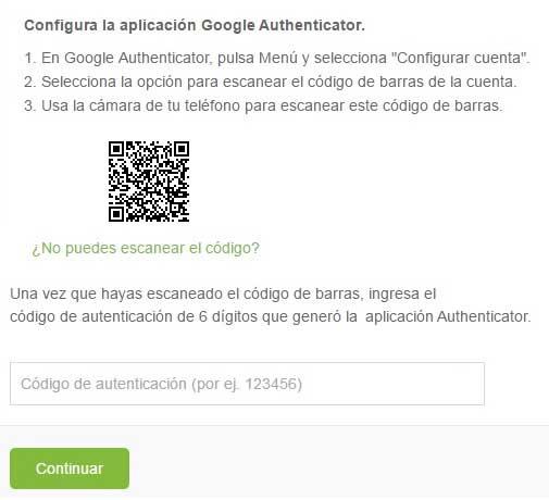 Código de barras para autenticación en dos pasos