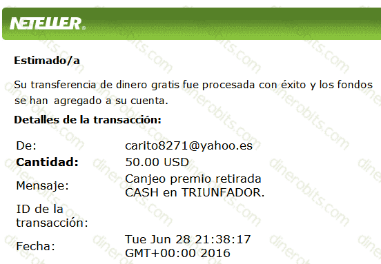 Pago de Triunfador de 50 dólares por Neteller