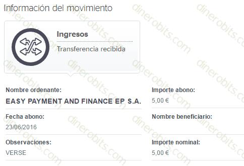 Pago de 5 euros recibido de la app Verse