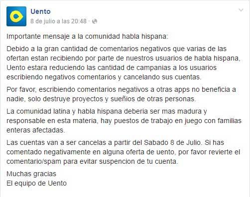 Aviso a la comunidad hispana por parte de Uento