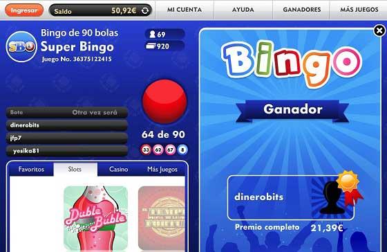 Premio en el bingo gratis de Botemania