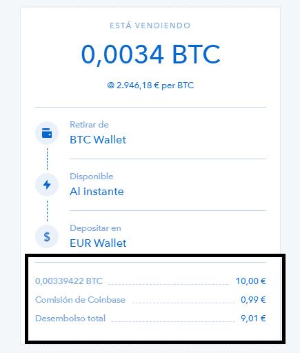 Comisiones venta bitcoin por euros