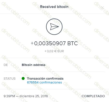 Primer pago de FreeBitcoin por Coinbase