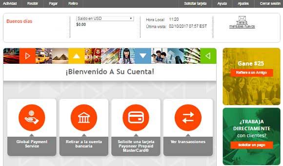 Payoneer español panel de usuario
