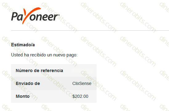 Comprobante de pago ClixSense y Payoneer