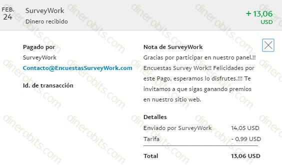 Segundo pago de Survey Work por PayPal