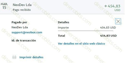 Pago de Neobux de 508 dólares