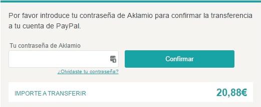 Confirmar el retiro de dinero en Aklamio