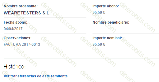 95 euros por transferencia de We Are Testers