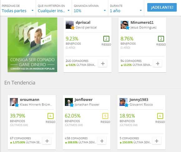 Inversores líderes en eToro webtrader