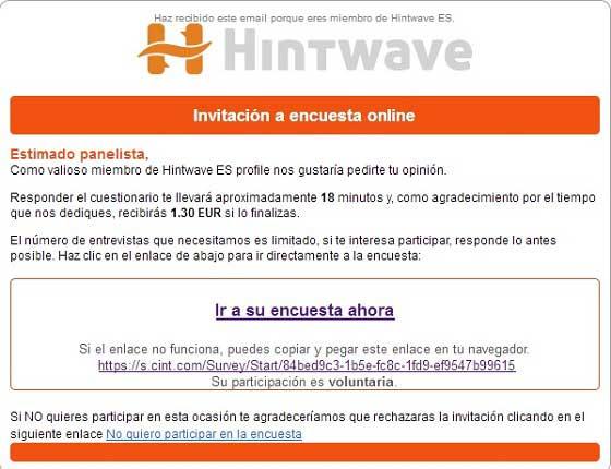 Encuesta por correo de Hintwave
