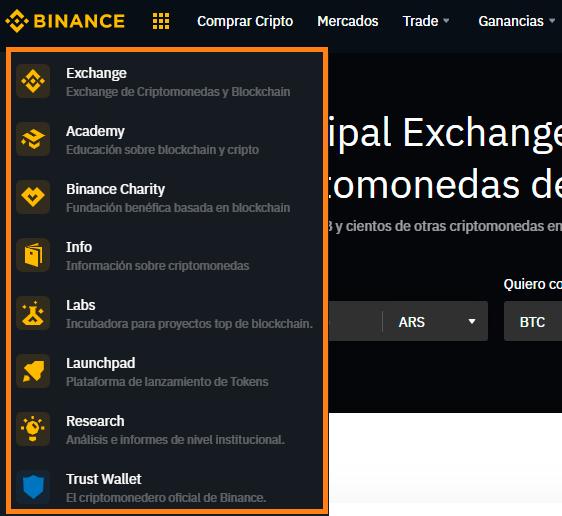Menú principal del exchange