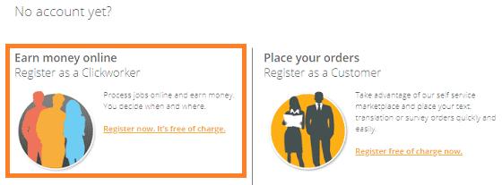 Registrarse en ClickWorker gratis