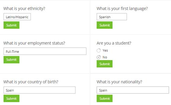 Preguntas de perfil en Prolific