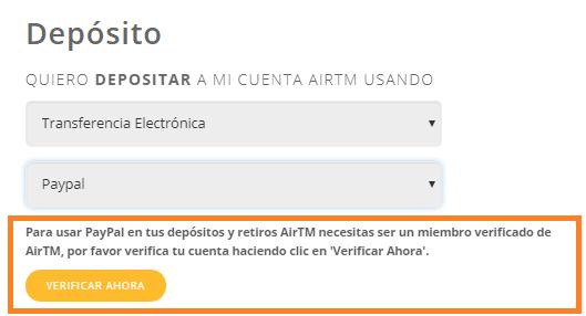 Verificación de la cuenta de AirTM