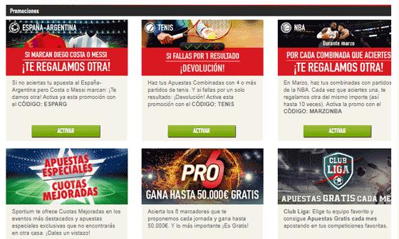 Promociones de juego en Sportium