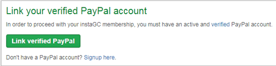 Verificación cuenta InstaGC con PayPal