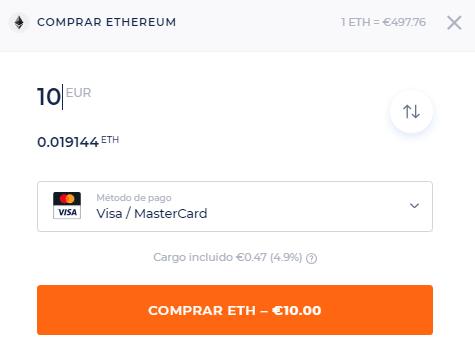 Compra de criptomonedas con tarjeta