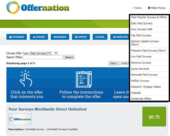 Encuestas y ofertas en OfferNation