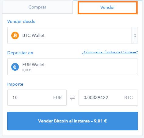 Vender bitcoins por euros