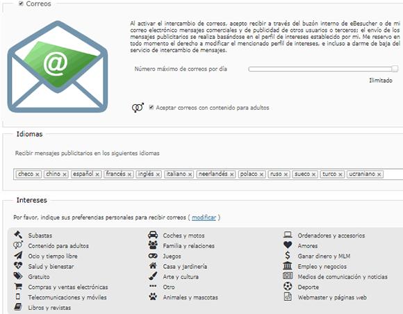 Configuración emails de Ebesucher